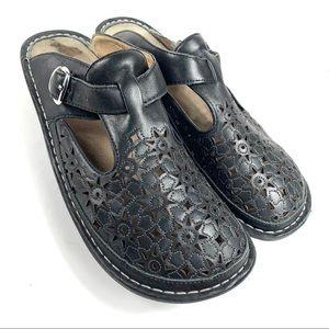 ALEGRIA PG LITE Leather Black Mules Clogs
